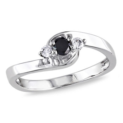 Promise My Love Womens 1/4 CT. T.W. Color Enhanced Round Black Diamond Sterling Silver Promise Ring