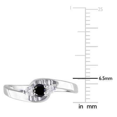 Promise My Love Womens 1/4 CT. T.W. Black Diamond Sterling Silver Promise Ring
