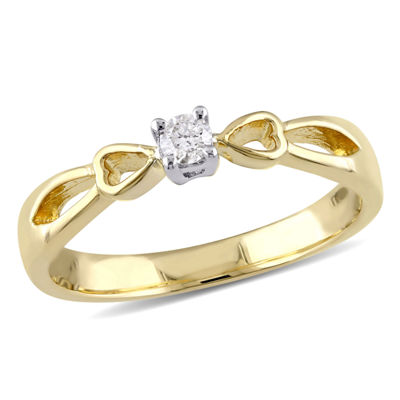 Promise My Love Womens 1/10 CT. T.W. Genuine White Diamond 18K Gold Over Silver Promise Ring