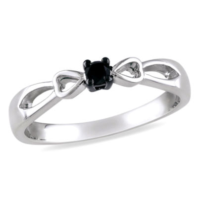 Promise My Love Womens 1/10 CT. T.W. Color Enhanced Round Black Diamond Sterling Silver Promise Ring
