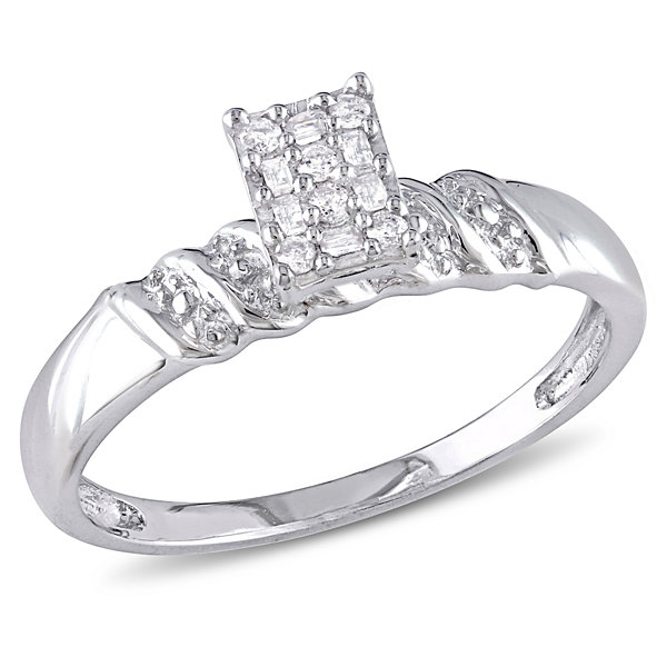 Promise My Love Womens 1/10 CT. T.W. Baguette White Diamond Sterling Silver Promise Ring