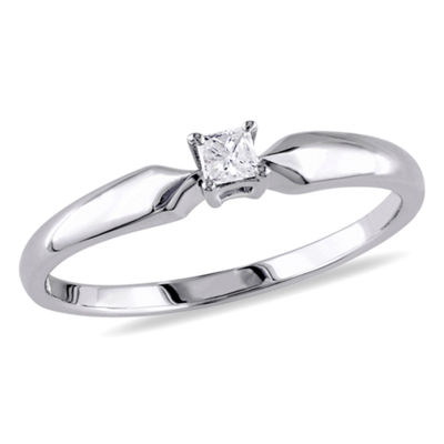 Promise My Love Womens 1/10 CT. T.W. Princess White Diamond Sterling Silver Promise Ring