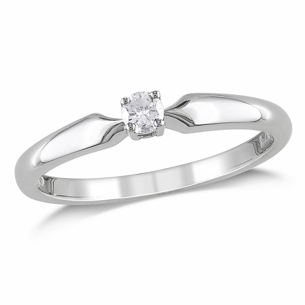 Promise My Love Womens 1/10 CT. T.W. Genuine Round White Diamond Sterling Silver Promise Ring