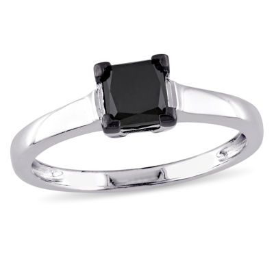 Womens 1 CT. T.W. Color Enhanced Princess Black Diamond Sterling Silver Solitaire Ring