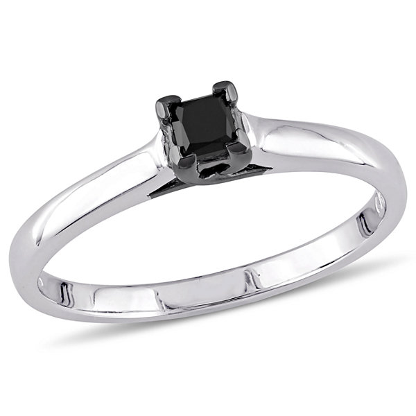 Womens 1/4 CT. T.W. Color Enhanced Princess Black Diamond Sterling Silver Solitaire Ring