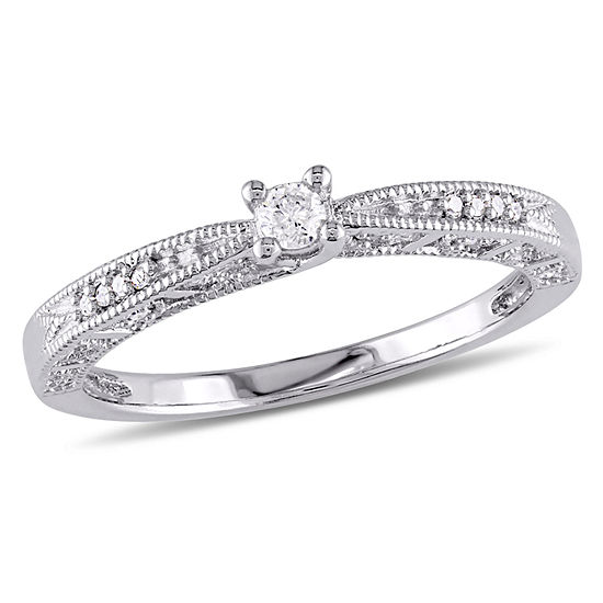 Sterling Silver 1//10 Ct Diamond TW Promise Engagement Ring GH I2;I3