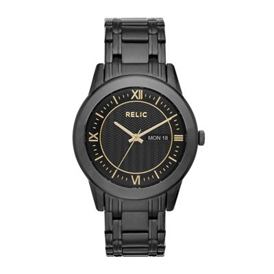 Relic® Caldwell Mens Black Stainless Steel Watch ZR12141
