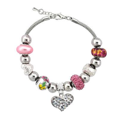 Dazzling Designs™ Sliver-Plated Pink Artisan Glass Bead Bracelet