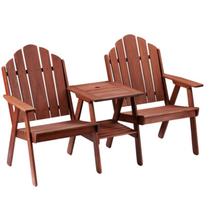 Outdoor Set of 2 Adirondack Chairs with Table