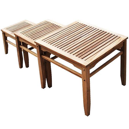 Teak 3-pc. Outdoor Nesting Table Set