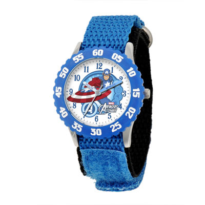 Marvel® Captain America Kids Blue Nylon Strap Watch