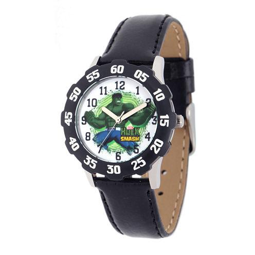 Marvel® Hulk Kids Black Leather Strap Watch