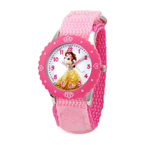 Disney Belle Kids Pink Nylon Strap Watch