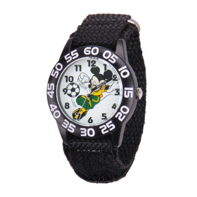 Disney Mickey Mouse Soccer Kids Black Nylon Strap Watch