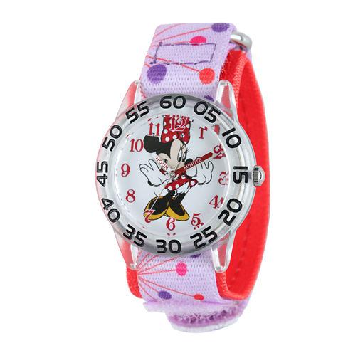 Disney Minnie Mouse Kids Pink Printed Nylon Strap Watch