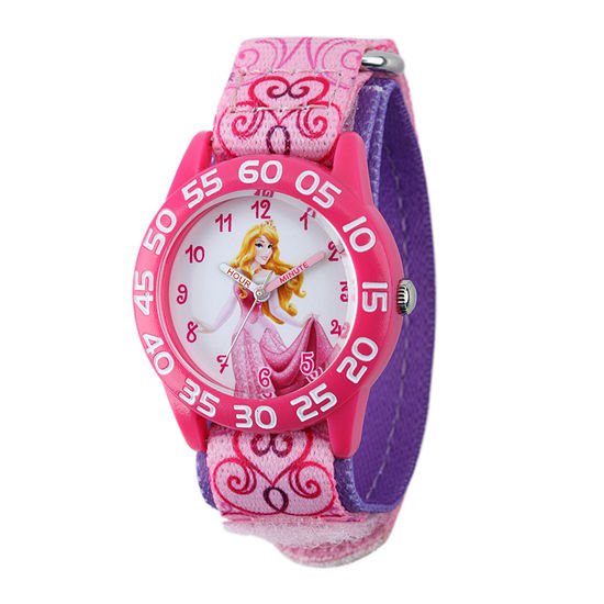 Disney Time Teacher Sleeping Beauty Girls Pink Strap Watch-W001668