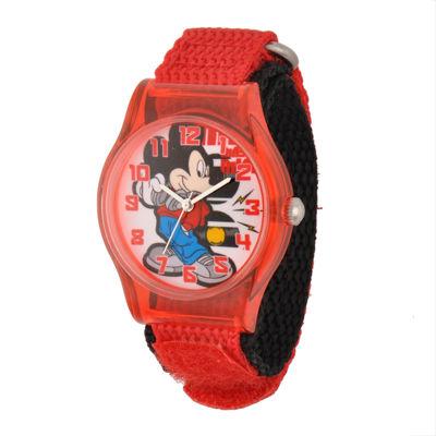 Disney Mickey Mouse Kids Red Nylon Strap Watch