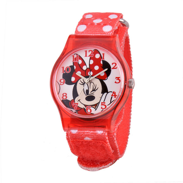 Disney Minnie Mouse Winking Kids Red Nylon Strap Watch