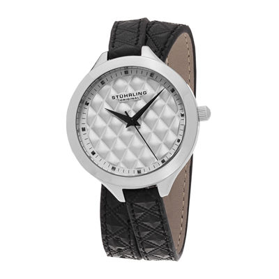 Stührling® Original Womens Quilt-Look Dial Black Leather Wrap Watch 7456.01
