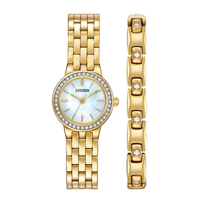 Citizen® Womens Crystal-Accent Gold-Tone Stainless Steel Bracelet and Watch Set EJ6102-64D