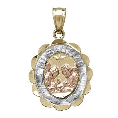 "Tesoro™ 14K Tri-Tone Cubic Zirconia ""Mi Bautizo"" Baptismal Medallion Pendant"