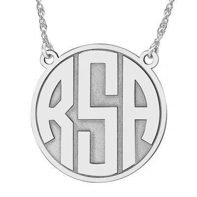 Personalized 25mm Block Monogram Necklace