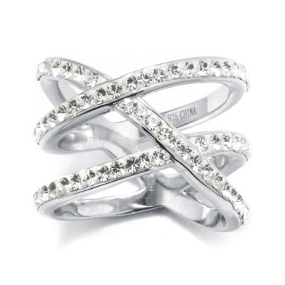 """Crystal Sterling Silver """"X"""" Ring"""