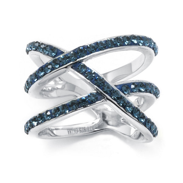 "Blue Crystal Sterling Silver ""X"" Ring"