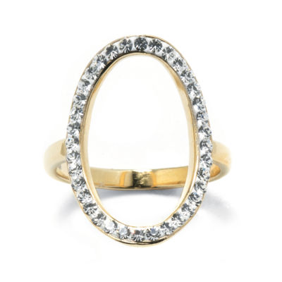 Crystal 14K Gold over Sterling Silver Openwork Circle Ring