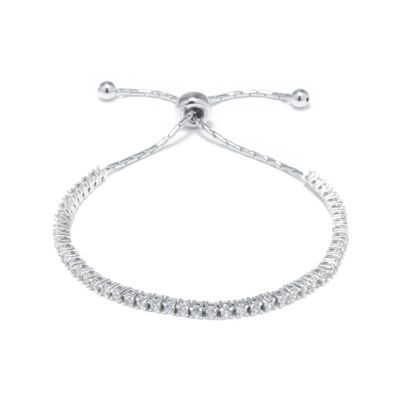 Princess-Cut Cubic Zirconia Sterling Silver Tennis Slider Bracelet