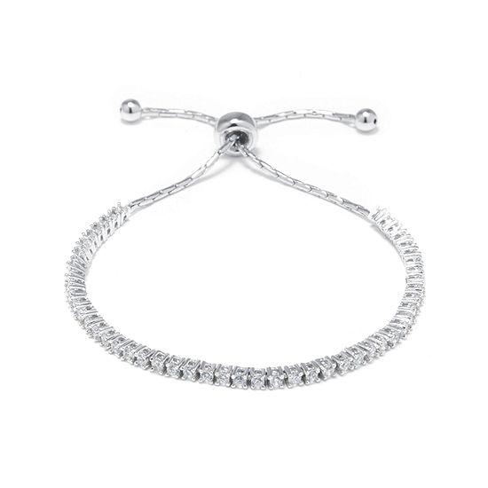 Princess-Cut Cubic Zirconia Sterling Silver Tennis Slider Bracelet