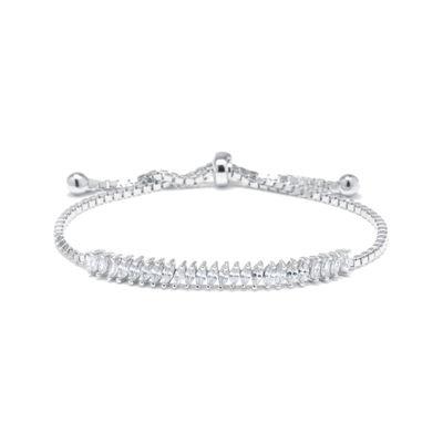 Marquise-Cut Cubic Zirconia Sterling Silver Tennis Slider Bracelet