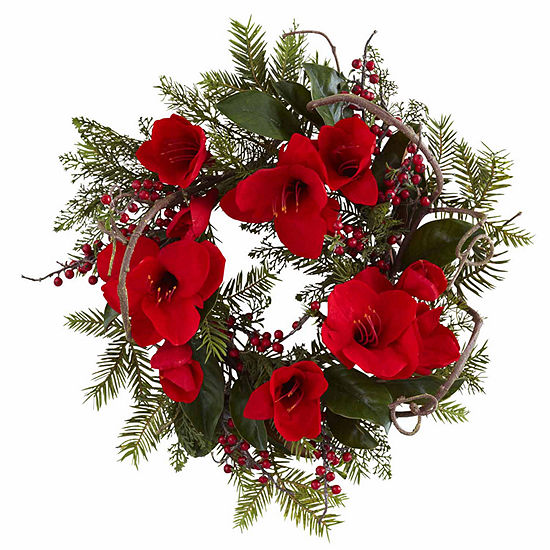 Nearly Natural 24in Amaryllis Indoor Christmas Wreath