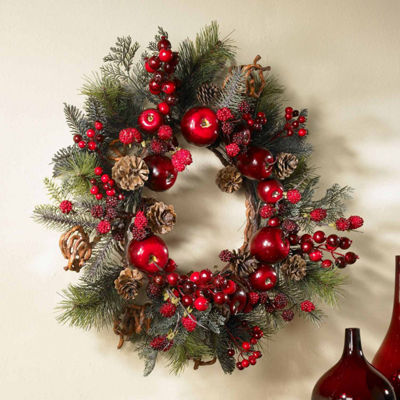 Nearly Natural 22in Apple Berry Indoor Christmas Wreath