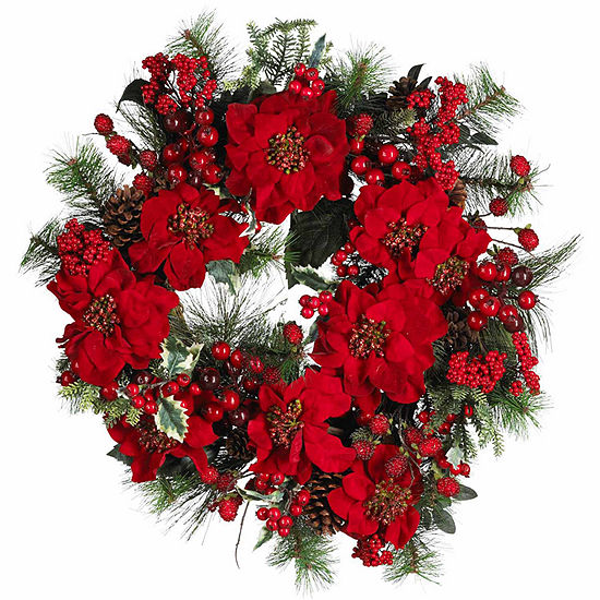 Nearly Natural 24in Poinsettia Indoor Christmas Wreath