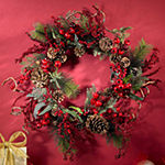 Nearly Natural 24in Berry Indoor Christmas Wreath