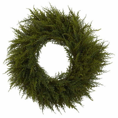 Nearly Natural 24in Cedar Indoor Christmas Wreath