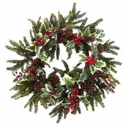 Nearly Natural 22in Holly Berry Indoor Christmas Wreath
