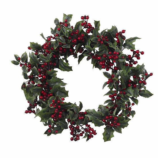 Nearly Natural 24in Holly Berry Indoor Christmas Wreath