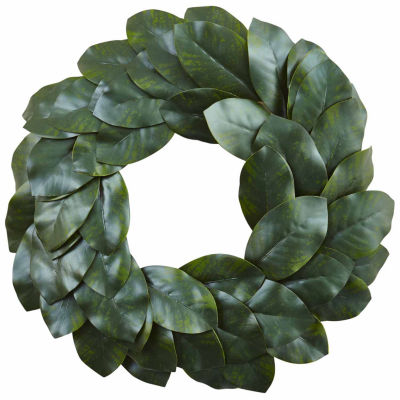 Nearly Natural 24in Magnolia Indoor Christmas Wreath