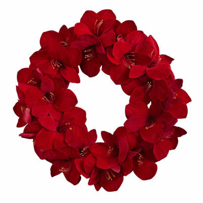 Nearly Natural 22in Amaryllis Indoor Christmas Wreath