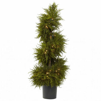Nearly Natural 43in Cedar Spiral Lit Topiary Christmas Tree