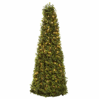Nearly Natural 39in Boxwood Cone With Lights Christmas Tree