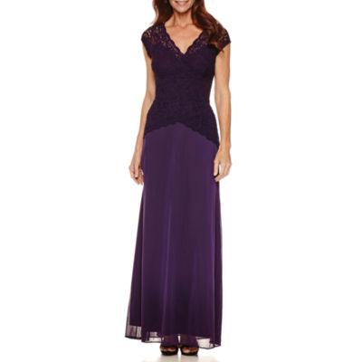 Onyx Nites Short Sleeve Evening Gown