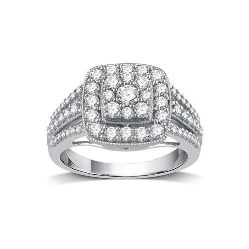 Diamond Blossom Womens 1 CT. T.W. Genuine White Diamond 10K Gold