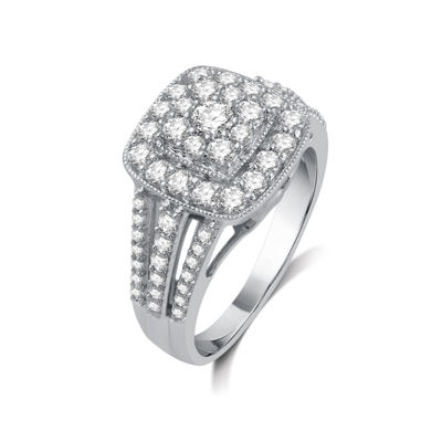 Diamond Blossom Womens 1 CT. T.W. Genuine White Diamond 10K Gold Cocktail Ring