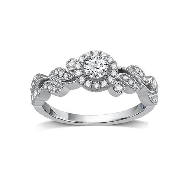 I Said Yes Womens 1/2 CT. T.W. White Diamond Platinaire Engagement Ring