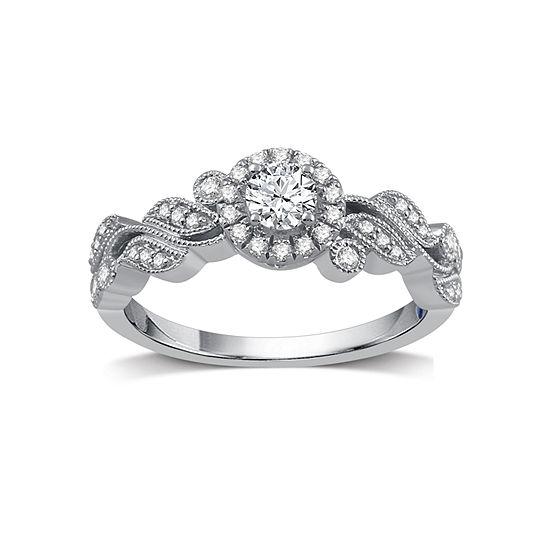 I Said Yes Womens 1/2 CT. T.W. White Diamond Platinaire Engagement Ring