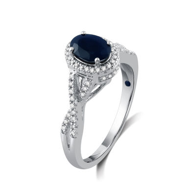 I Said Yes Womens 1/4 CT. T.W. Oval Blue Sapphire Platinaire Engagement Ring