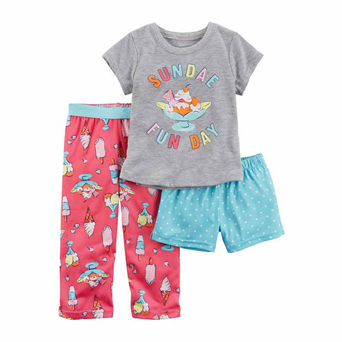 Carter'S Girls 3-Pc. Poly Shorts Pajama Set